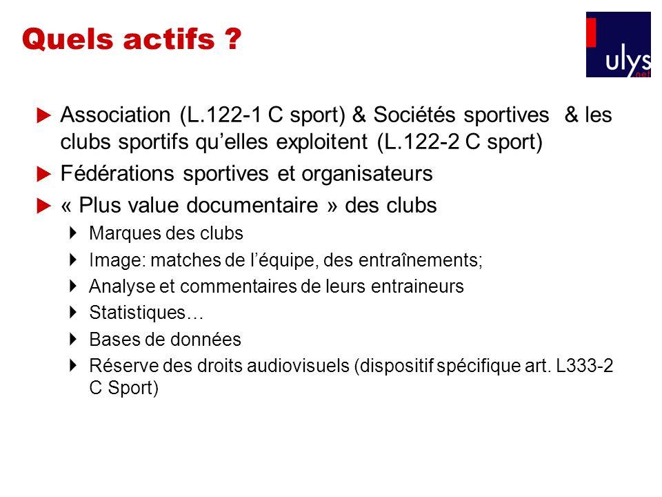 Quels actifs ? Association (L.122-1 C sport) & Sociétés sportives & les clubs sportifs quelles exploitent (L.122-2 C sport) Fédérations sportives et o