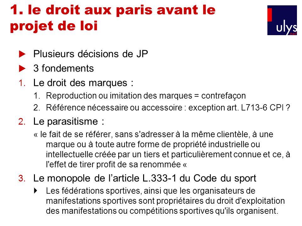 1. le droit aux paris avant le projet de loi Plusieurs décisions de JP 3 fondements 1. Le droit des marques : 1.Reproduction ou imitation des marques
