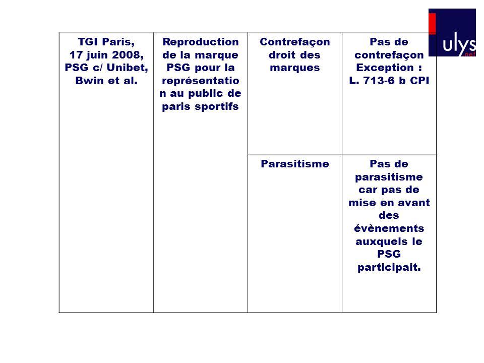 TGI Paris, 17 juin 2008, PSG c/ Unibet, Bwin et al. Reproduction de la marque PSG pour la représentatio n au public de paris sportifs Contrefaçon droi