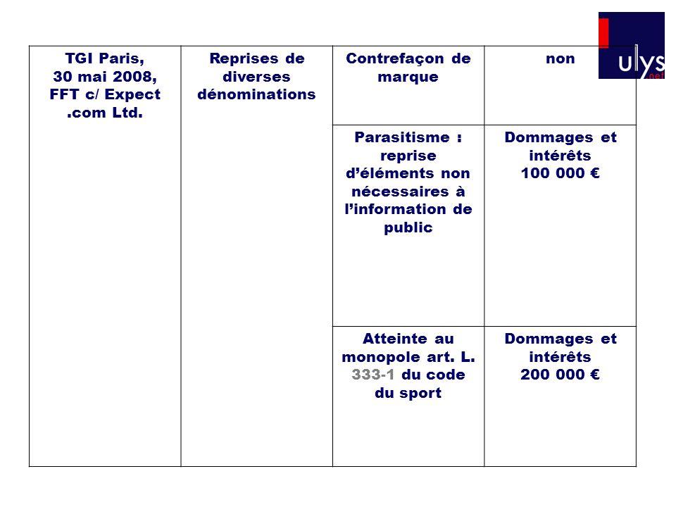 TGI Paris, 30 mai 2008, FFT c/ Expect.com Ltd. Reprises de diverses dénominations Contrefaçon de marque non Parasitisme : reprise déléments non nécess