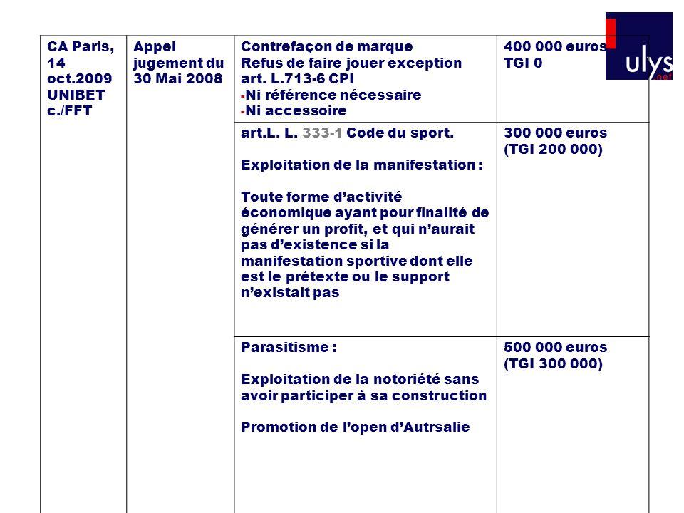 CA Paris, 14 oct.2009 UNIBET c./FFT Appel jugement du 30 Mai 2008 Contrefaçon de marque Refus de faire jouer exception art. L.713-6 CPI - Ni référence