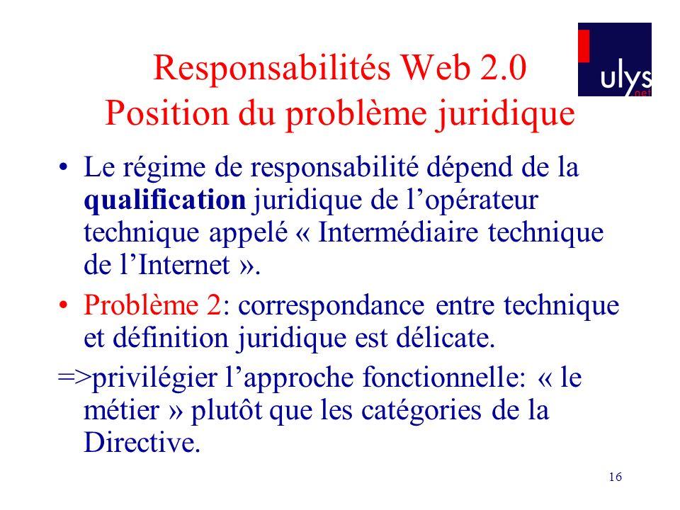 16 Responsabilités Web 2.0 Position du problème juridique Le régime de responsabilité dépend de la qualification juridique de lopérateur technique appelé « Intermédiaire technique de lInternet ».