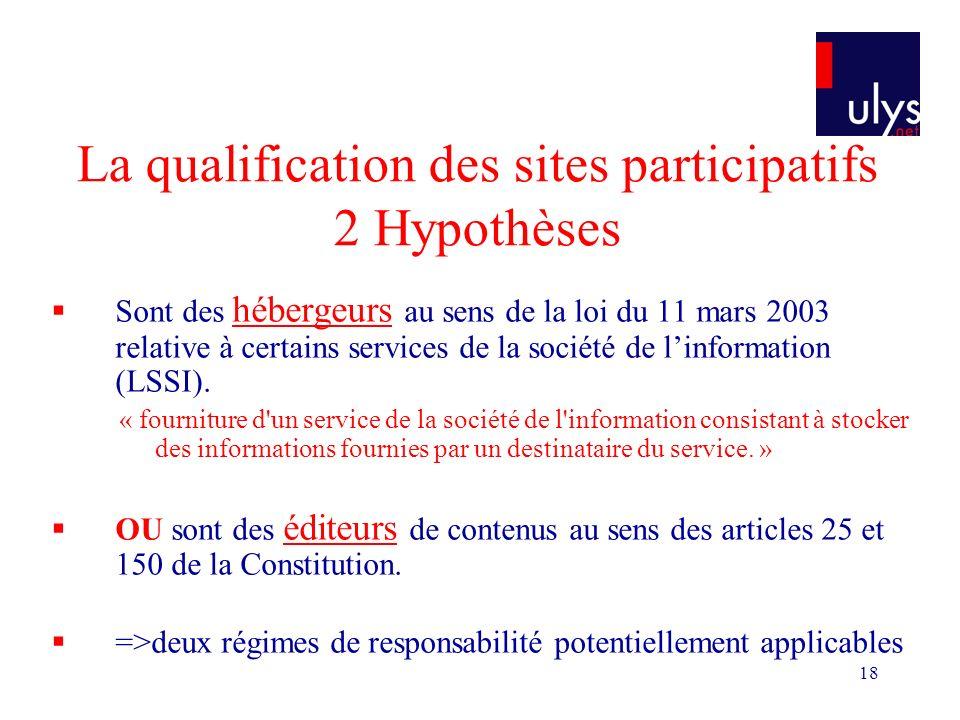 18 La qualification des sites participatifs 2 Hypothèses Sont des hébergeurs au sens de la loi du 11 mars 2003 relative à certains services de la société de linformation (LSSI).