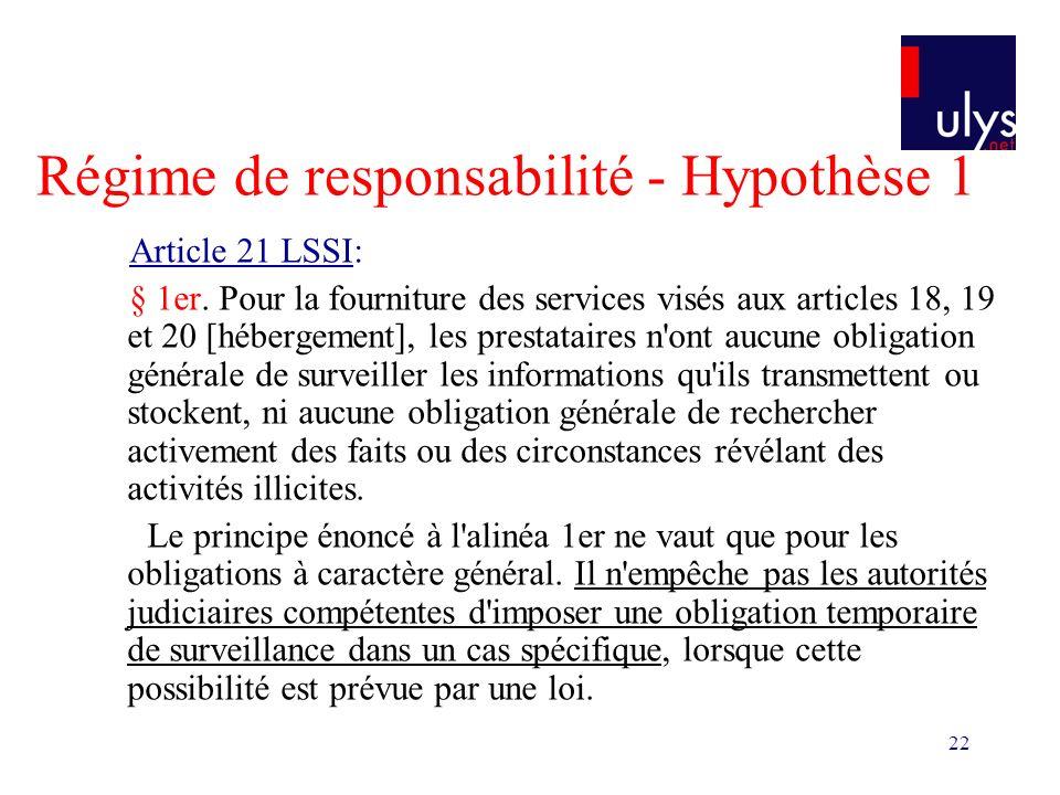 22 Régime de responsabilité - Hypothèse 1 Article 21 LSSI: § 1er. Pour la fourniture des services visés aux articles 18, 19 et 20 [hébergement], les p