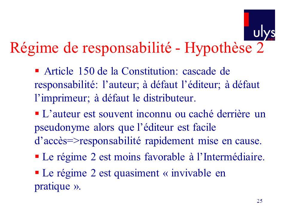 25 Régime de responsabilité - Hypothèse 2 Article 150 de la Constitution: cascade de responsabilité: lauteur; à défaut léditeur; à défaut limprimeur; à défaut le distributeur.