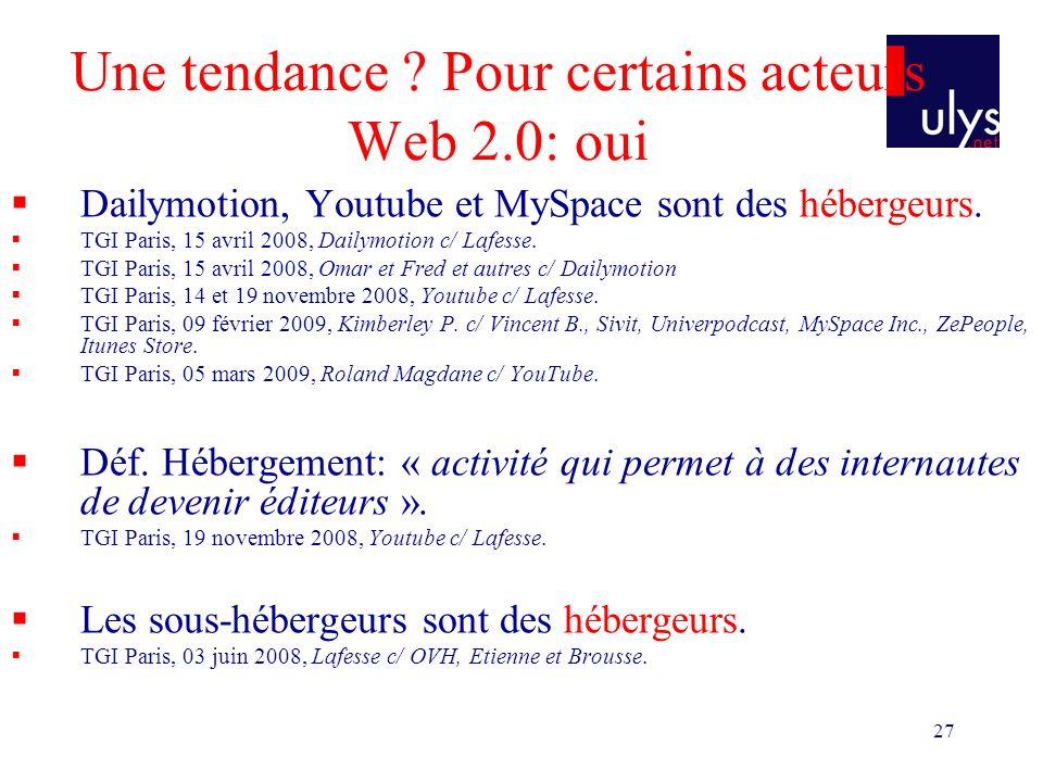 27 Une tendance ? Pour certains acteurs Web 2.0: oui Dailymotion, Youtube et MySpace sont des hébergeurs. TGI Paris, 15 avril 2008, Dailymotion c/ Laf