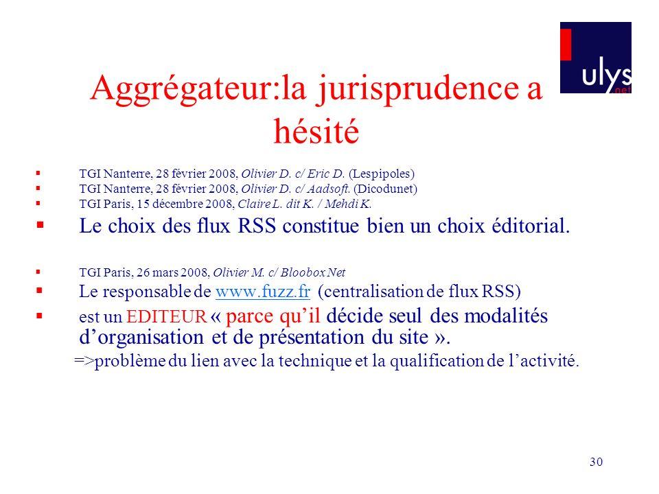 30 Aggrégateur:la jurisprudence a hésité TGI Nanterre, 28 février 2008, Olivier D. c/ Eric D. (Lespipoles) TGI Nanterre, 28 février 2008, Olivier D. c