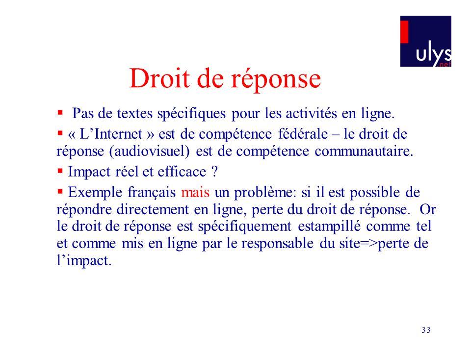 33 Droit de réponse Pas de textes spécifiques pour les activités en ligne. « LInternet » est de compétence fédérale – le droit de réponse (audiovisuel