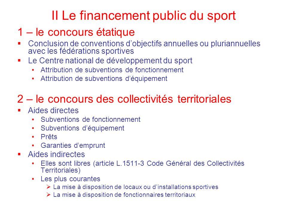 II Le financement public du sport 1 – le concours étatique Conclusion de conventions dobjectifs annuelles ou pluriannuelles avec les fédérations sport