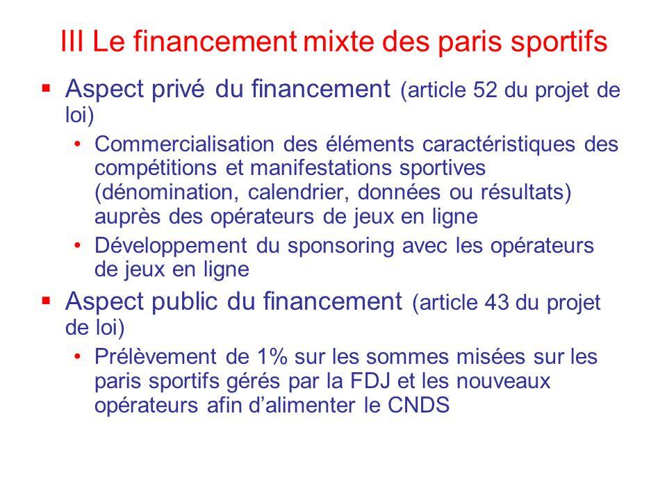 III Le financement mixte des paris sportifs Aspect privé du financement (article 52 du projet de loi) Commercialisation des éléments caractéristiques