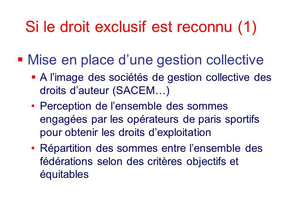 Si le droit exclusif est reconnu (1) Mise en place dune gestion collective A limage des sociétés de gestion collective des droits dauteur (SACEM…) Per