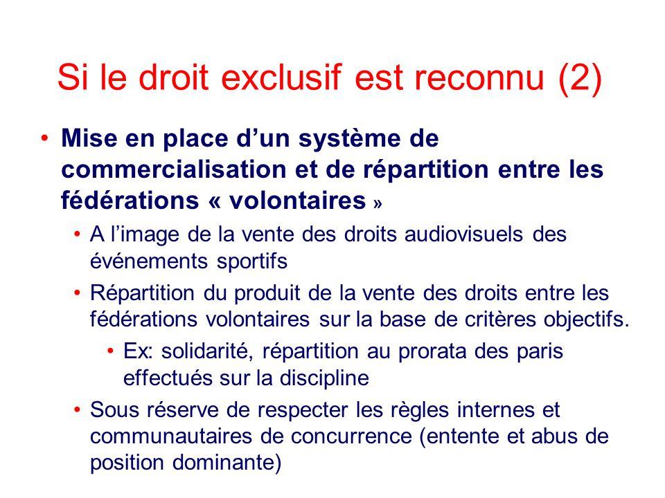 Mise en place dun système de commercialisation et de répartition entre les fédérations « volontaires » A limage de la vente des droits audiovisuels de