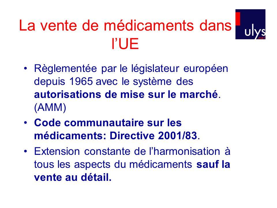 La vente de médicaments dans lUE Règlementée par le législateur européen depuis 1965 avec le système des autorisations de mise sur le marché.