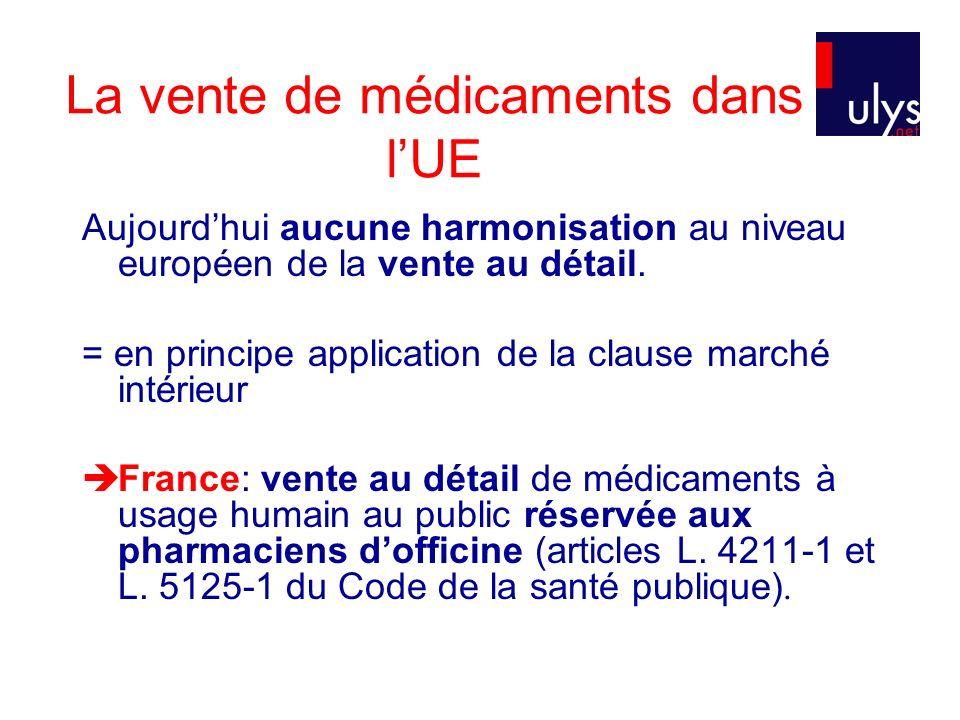 La vente de médicaments dans lUE Aujourdhui aucune harmonisation au niveau européen de la vente au détail.