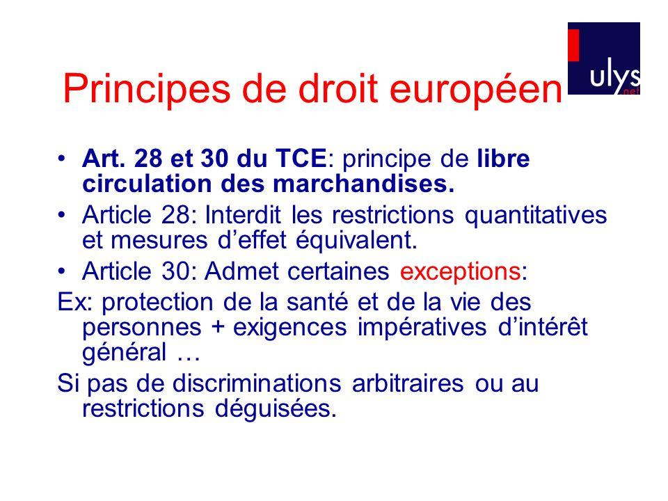 Principes de droit européen Art.28 et 30 du TCE: principe de libre circulation des marchandises.