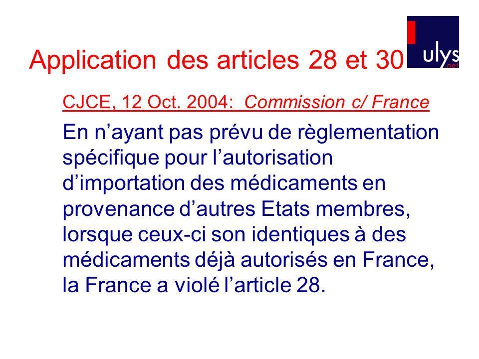 Application des articles 28 et 30 CJCE, 12 Oct.