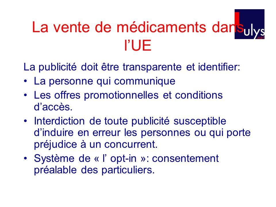La vente de médicaments dans lUE La publicité doit être transparente et identifier: La personne qui communique Les offres promotionnelles et conditions daccès.