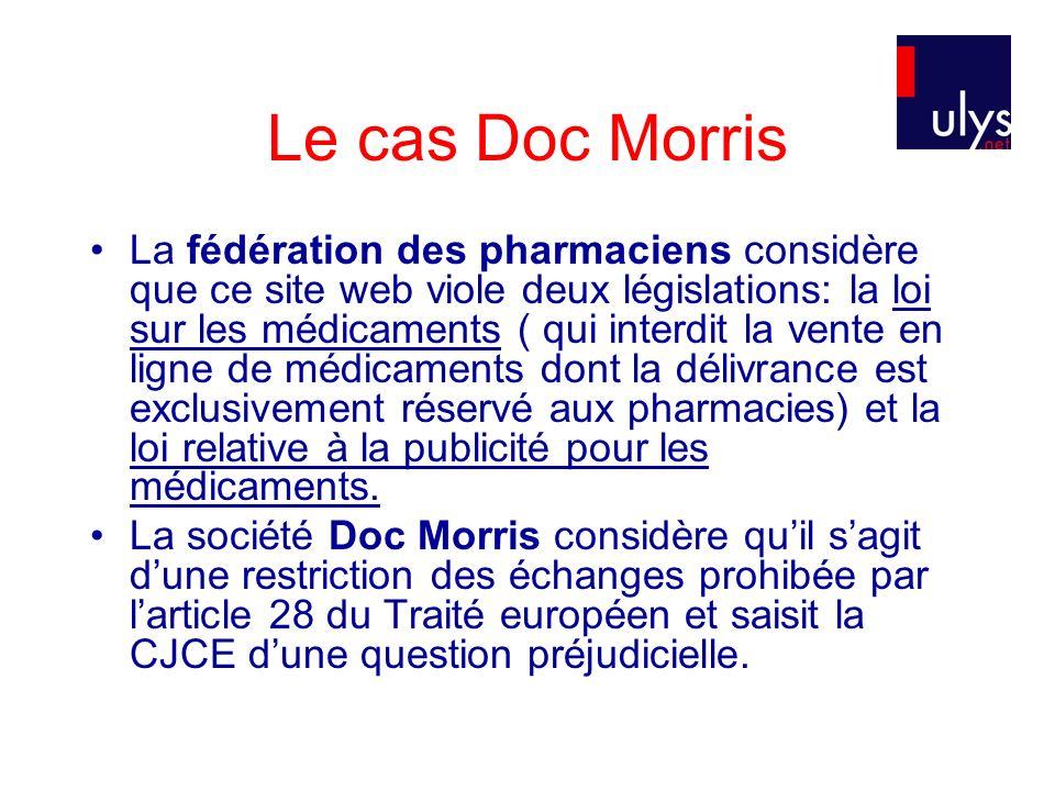 Le cas Doc Morris La fédération des pharmaciens considère que ce site web viole deux législations: la loi sur les médicaments ( qui interdit la vente en ligne de médicaments dont la délivrance est exclusivement réservé aux pharmacies) et la loi relative à la publicité pour les médicaments.