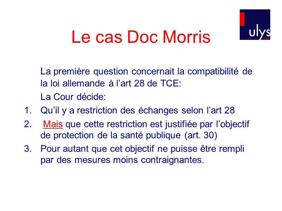 Le cas Doc Morris La première question concernait la compatibilité de la loi allemande à lart 28 de TCE: La Cour décide: 1.Quil y a restriction des échanges selon lart 28 2.
