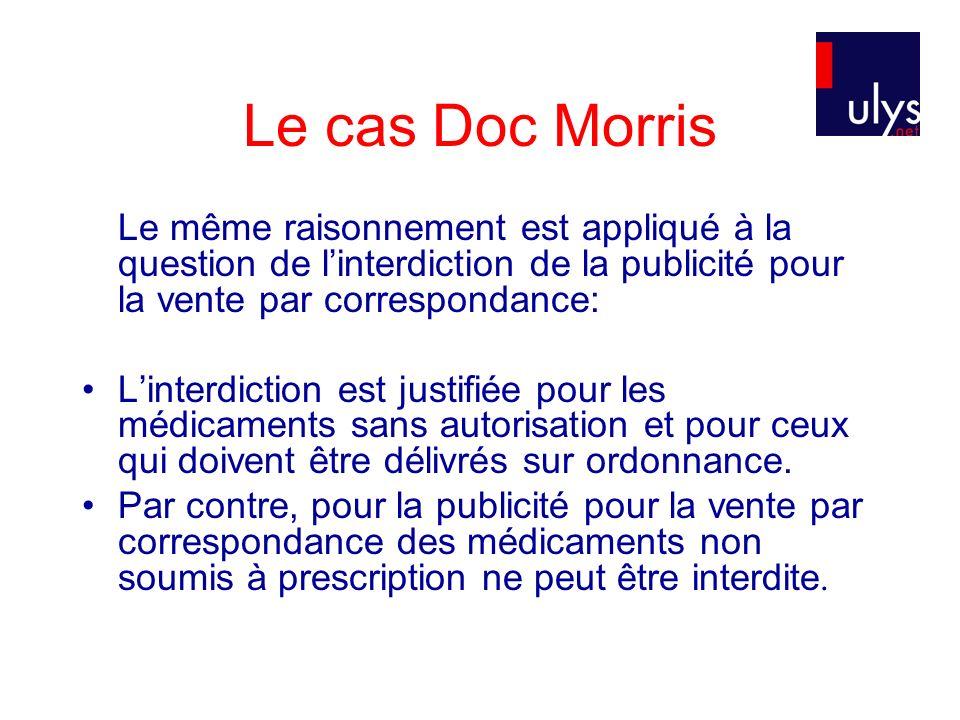 Le cas Doc Morris Le même raisonnement est appliqué à la question de linterdiction de la publicité pour la vente par correspondance: Linterdiction est justifiée pour les médicaments sans autorisation et pour ceux qui doivent être délivrés sur ordonnance.