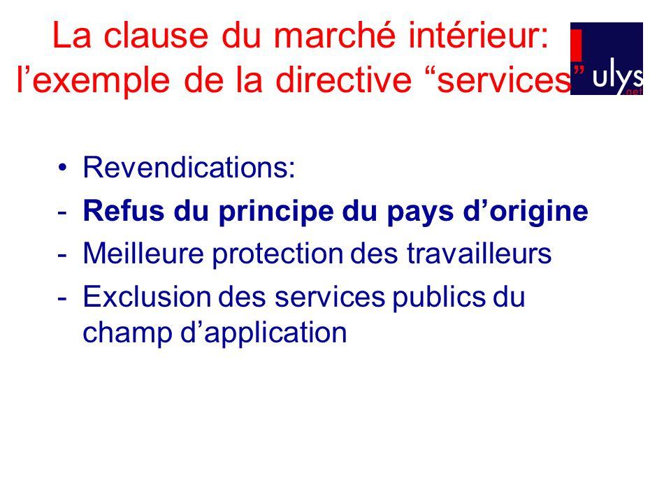 La clause du marché intérieur: lexemple de la directive services 2)La directive services Prise en compte par le parlement des revendications des opposants à la directive Principe du PO remplacé par le principe de la libre prestation de services Restriction du champ dapplication Préservation du droit du travail, des pratiques collectives et du rôle des partenaires sociaux