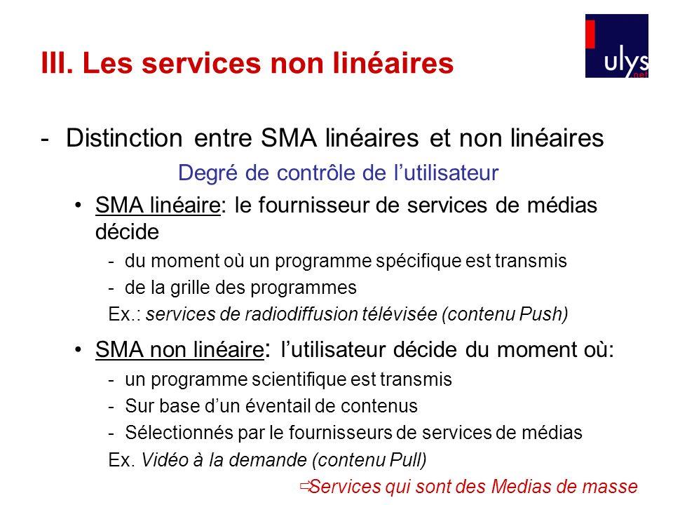 III. Les services non linéaires -Distinction entre SMA linéaires et non linéaires Degré de contrôle de lutilisateur SMA linéaire: le fournisseur de se