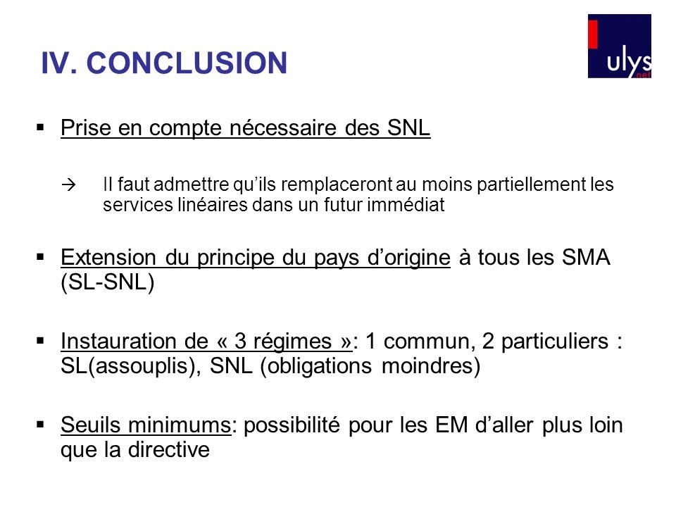 IV. CONCLUSION Prise en compte nécessaire des SNL Il faut admettre quils remplaceront au moins partiellement les services linéaires dans un futur immé