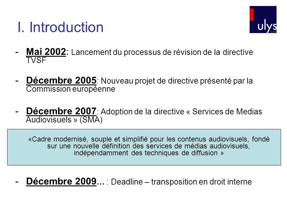 I. Introduction -Mai 2002: Lancement du processus de révision de la directive TVSF -Décembre 2005 : Nouveau projet de directive présenté par la Commis