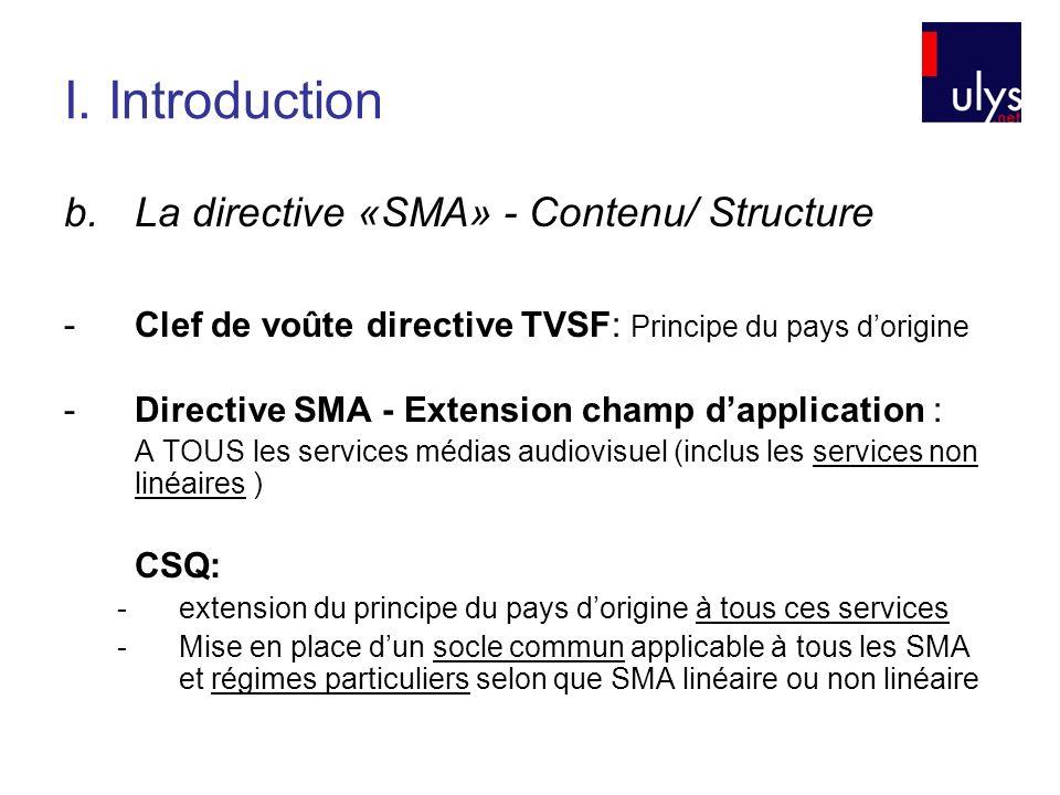 I. Introduction b.La directive «SMA» - Contenu/ Structure -Clef de voûte directive TVSF: Principe du pays dorigine -Directive SMA - Extension champ da