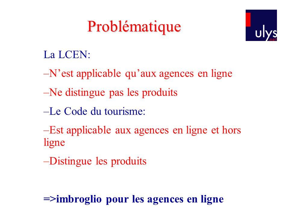 La LCEN: –Nest applicable quaux agences en ligne –Ne distingue pas les produits –Le Code du tourisme: –Est applicable aux agences en ligne et hors ligne –Distingue les produits =>imbroglio pour les agences en ligne Problématique