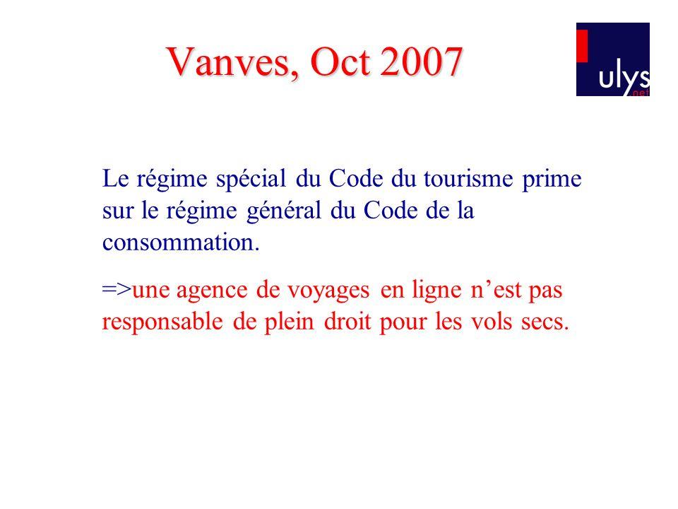 Le régime spécial du Code du tourisme prime sur le régime général du Code de la consommation.