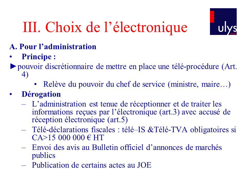 III.Choix de lélectronique A.