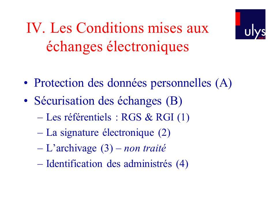 IV. Les Conditions mises aux échanges électroniques Protection des données personnelles (A) Sécurisation des échanges (B) –Les référentiels : RGS & RG