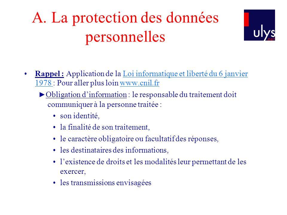 A. La protection des données personnelles Rappel : Application de la Loi informatique et liberté du 6 janvier 1978 : Pour aller plus loin www.cnil.frL