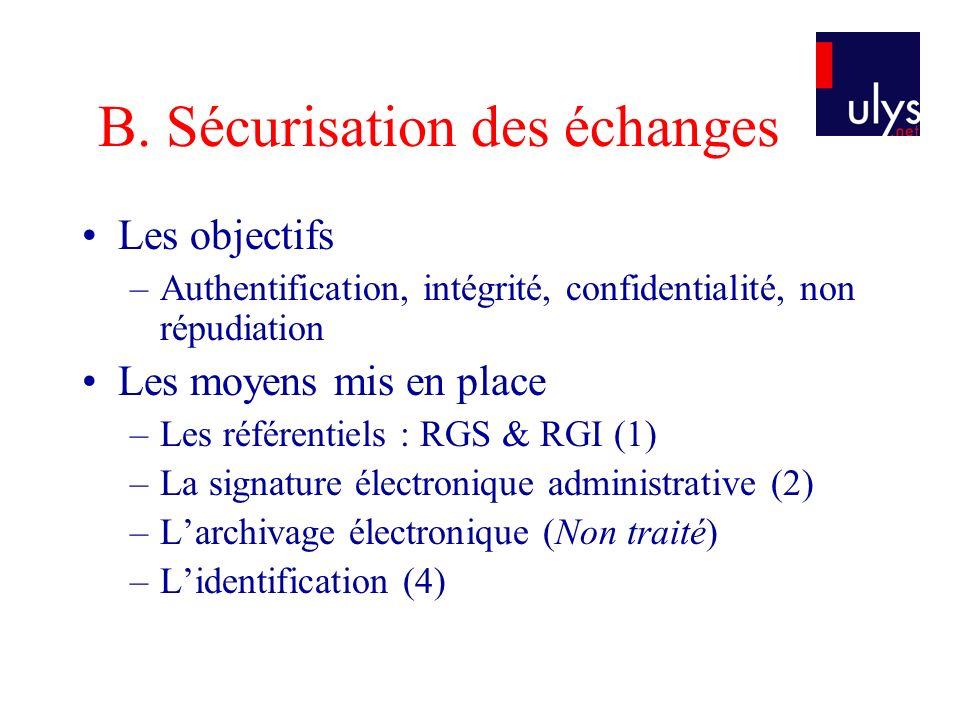 B. Sécurisation des échanges Les objectifs –Authentification, intégrité, confidentialité, non répudiation Les moyens mis en place –Les référentiels :