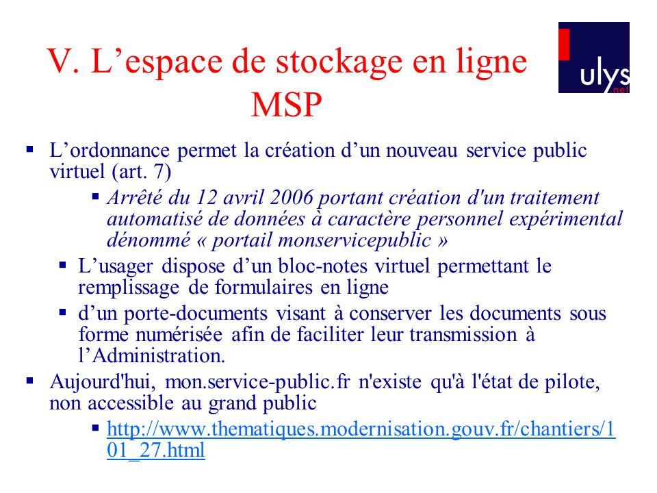 V. Lespace de stockage en ligne MSP Lordonnance permet la création dun nouveau service public virtuel (art. 7) Arrêté du 12 avril 2006 portant créatio