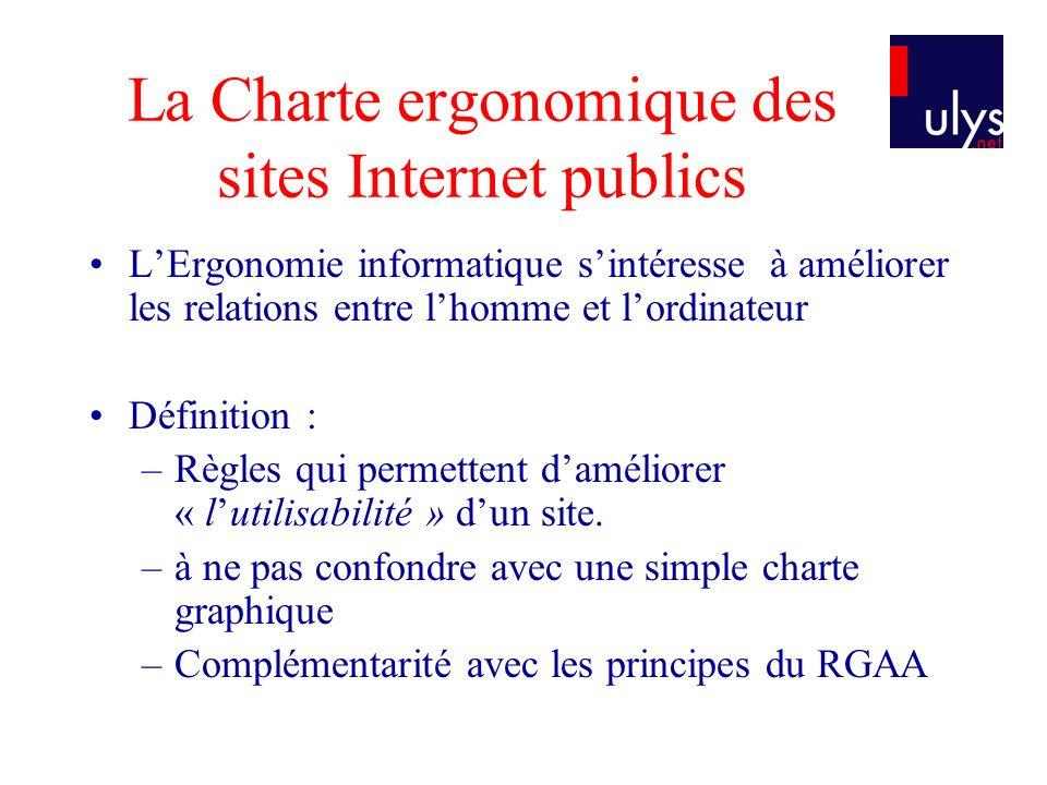La Charte ergonomique des sites Internet publics LErgonomie informatique sintéresse à améliorer les relations entre lhomme et lordinateur Définition : –Règles qui permettent daméliorer « lutilisabilité » dun site.