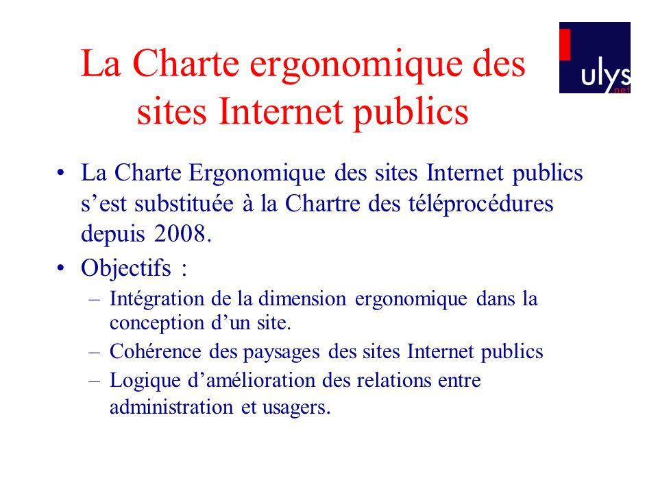 La Charte ergonomique des sites Internet publics La Charte Ergonomique des sites Internet publics sest substituée à la Chartre des téléprocédures depuis 2008.