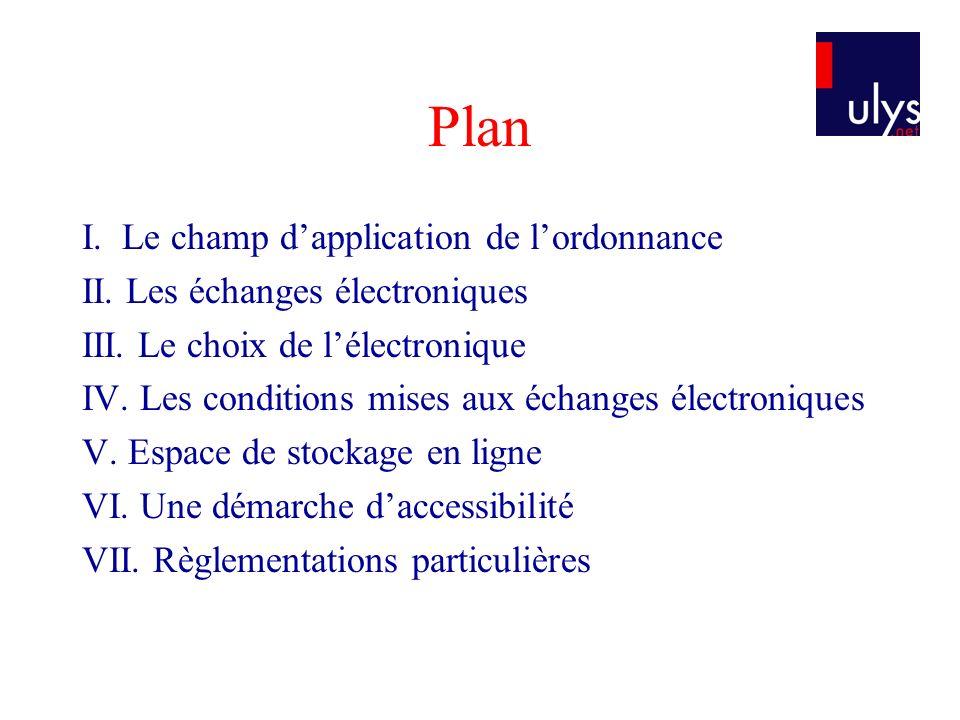 Plan I.Le champ dapplication de lordonnance II. Les échanges électroniques III.