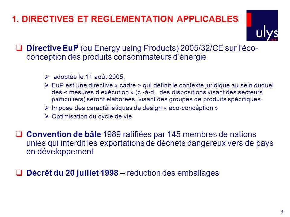 3 1. DIRECTIVES ET REGLEMENTATION APPLICABLES Directive EuP (ou Energy using Products) 2005/32/CE sur léco- conception des produits consommateurs déne