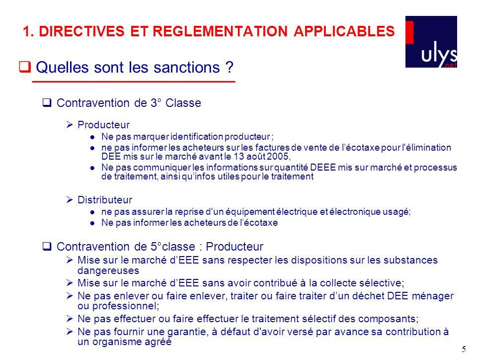 5 1.DIRECTIVES ET REGLEMENTATION APPLICABLES Quelles sont les sanctions .