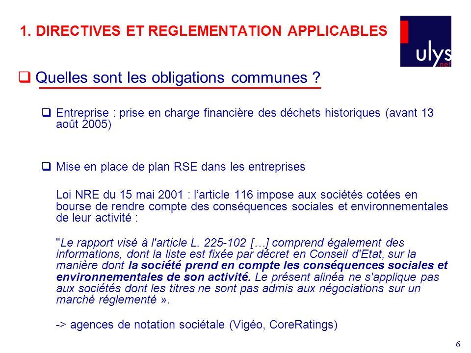 6 1.DIRECTIVES ET REGLEMENTATION APPLICABLES Quelles sont les obligations communes .
