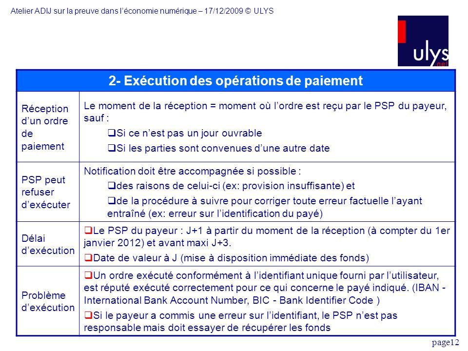 page12 2- Exécution des opérations de paiement Réception dun ordre de paiement Le moment de la réception = moment où lordre est reçu par le PSP du pay