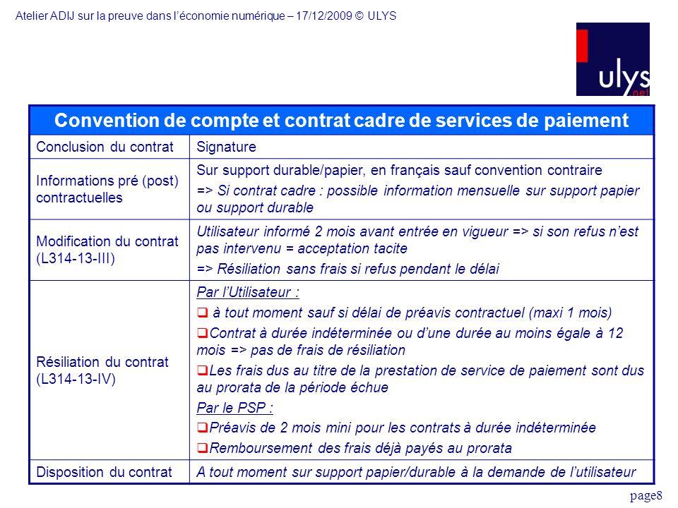 page8 Convention de compte et contrat cadre de services de paiement Conclusion du contratSignature Informations pré (post) contractuelles Sur support