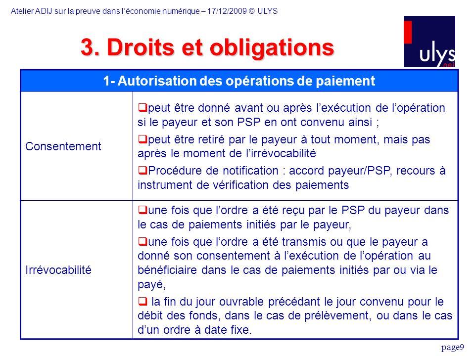 page9 3. Droits et obligations 1- Autorisation des opérations de paiement Consentement peut être donné avant ou après lexécution de lopération si le p