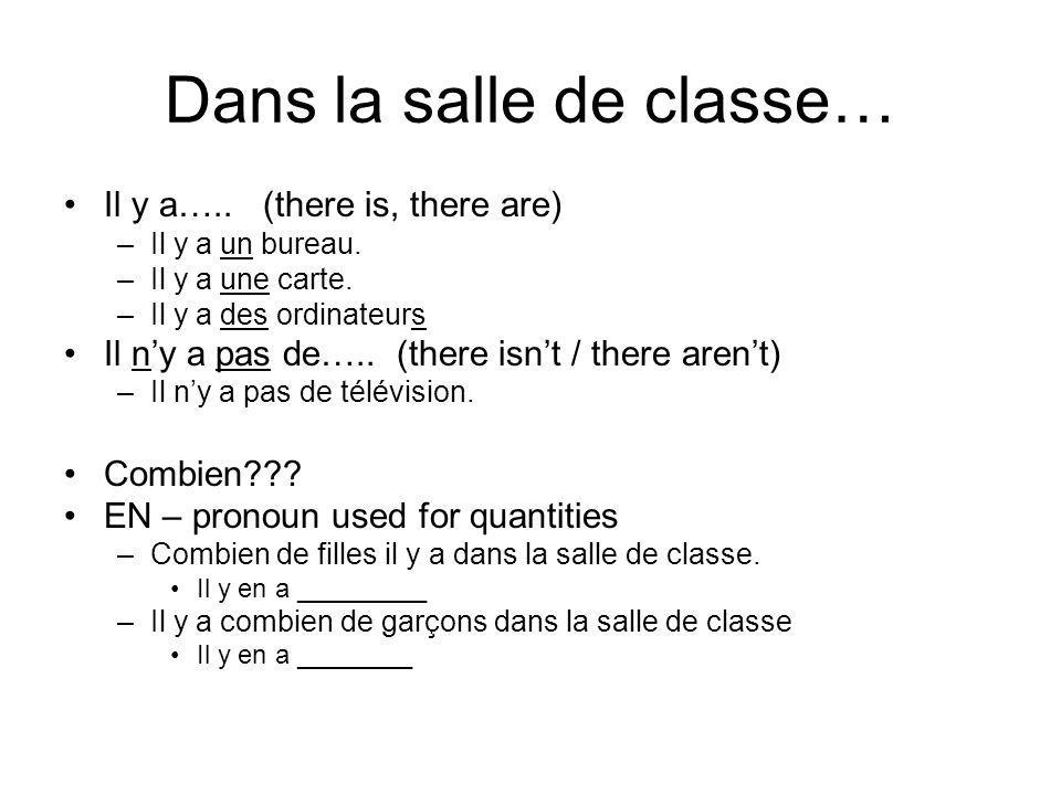 Dans la salle de classe… Il y a….. (there is, there are) –Il y a un bureau. –Il y a une carte. –Il y a des ordinateurs Il ny a pas de….. (there isnt /