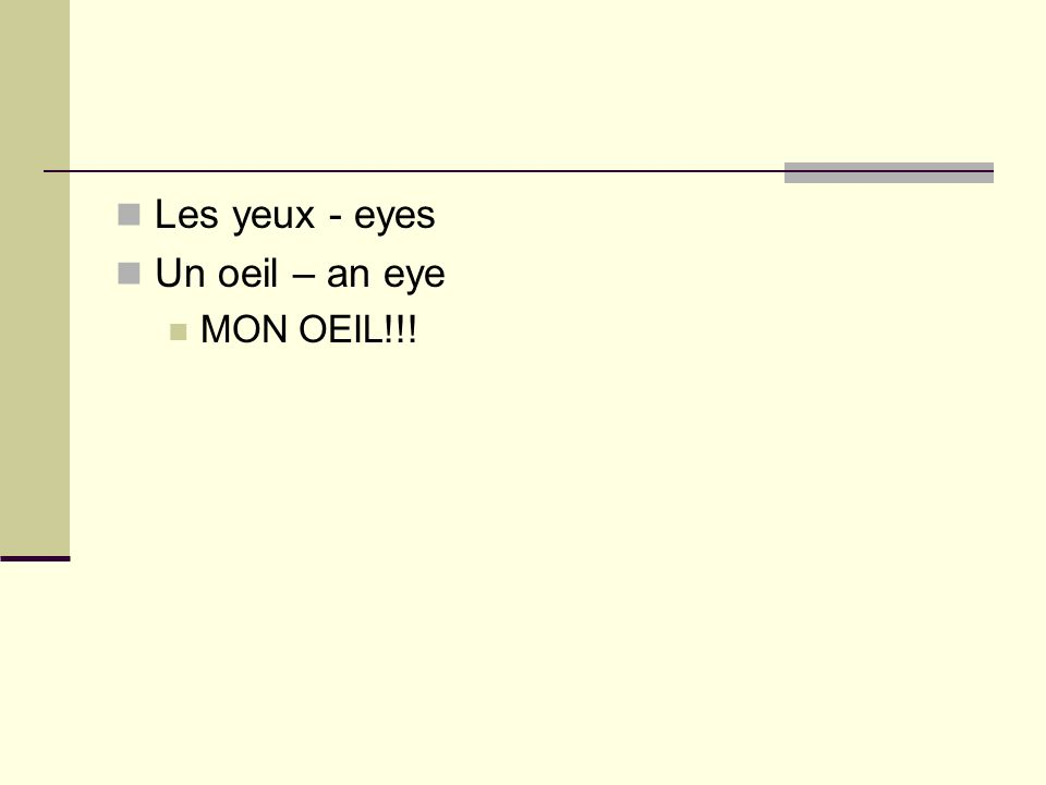 Les yeux - eyes Un oeil – an eye MON OEIL!!!