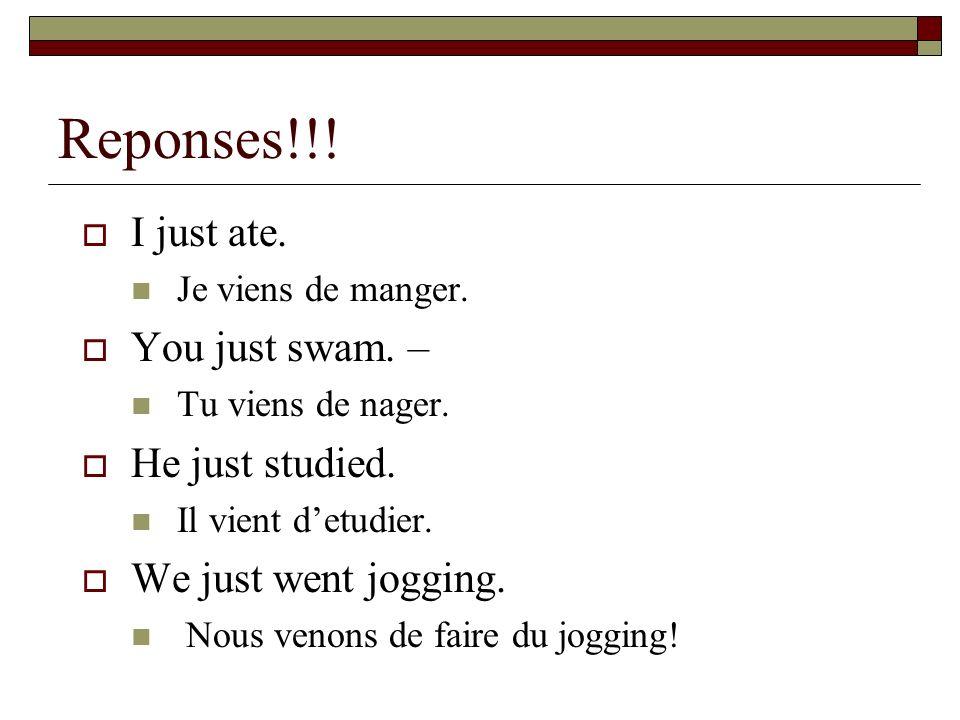 Three tenses – STUDY THIS WELL!!.PRESENT – Je mange.
