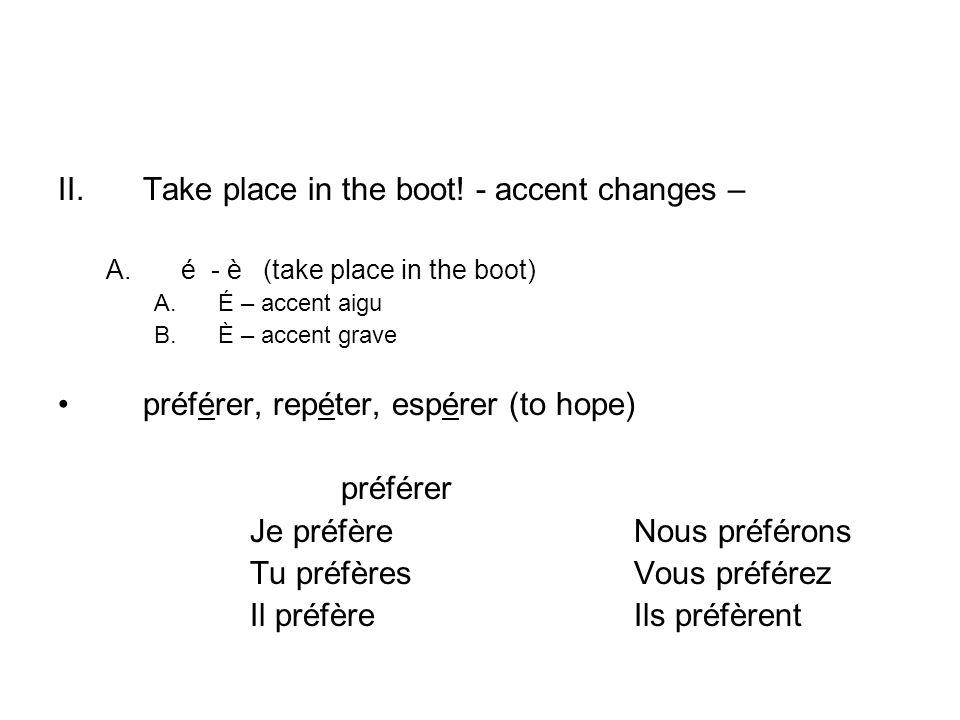 II.Take place in the boot! - accent changes – A.é - è (take place in the boot) A.É – accent aigu B.È – accent grave préférer, repéter, espérer (to hop
