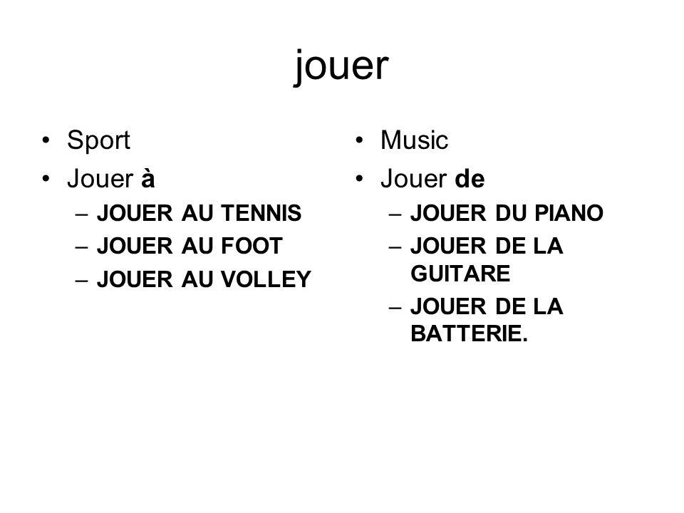 jouer Sport Jouer à –JOUER AU TENNIS –JOUER AU FOOT –JOUER AU VOLLEY Music Jouer de –JOUER DU PIANO –JOUER DE LA GUITARE –JOUER DE LA BATTERIE.